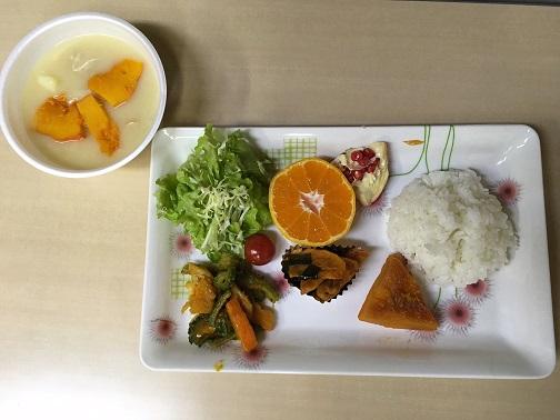 ぽっかぽかのある日のメニュー(ゴーヤチャンプル、サラダ、かぼちゃ煮付け、クリームシチュー)